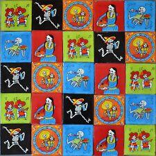 MEXICAN TILE DAY OF THE DEAD TALAVERA MOSAIC FOLK ART DIA DE LOS MUERTOS SKULLS