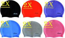 Lot of 2 Durable Stylish Sporty Silicone Flexible Swimming Swim Cap Hat Swimwear