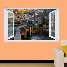 England Old Town Cottages Wall stickers 3D Art Mural Chambre Bureau Shop DECOR TV3