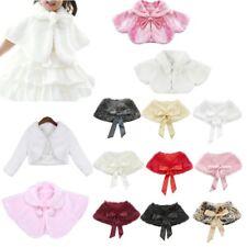 Flower Girl Kids Faux Fur Shrug Cape Cloak Shawl Bolero Wedding Jacket Coat Wrap