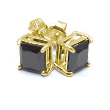 Diamante negro-único 2.5 ct oro sólido princesa corte Solitaire Aretes 9 CT