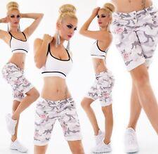 ITALIEN Damen Jeans Bermuda Baggy Shorts kurze Hose Chino Camouflage Blumen