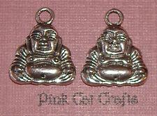 5 x BUDDHA Tibetan Silver Double Sided Charms Pendants Beads