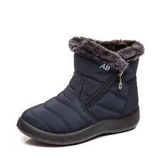 Women Ladies Fleece Lined Waterproof Slip On Shoes Winter Warm Snow Boots Shoes