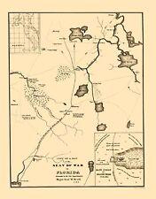 Old War Map - Seat of War in Florida 1836 - 23 x 29.36