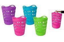 Large Plastic Laundry Basket Storage Flexible Flexi 4 Color Clothing Washing Bag