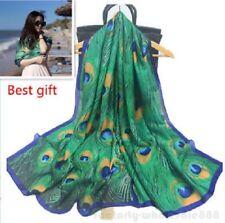 Women Peacock Feather Silk Scarf Hijabs Scarves Wraps Shawl Pashmina 180x90cm