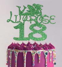 Tinkerbell personalised Glitter Card Birthday cake topper Disney