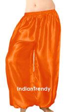 Orange - Satin Harem Yoga Pant Belly Dance Costume Tribal Pantalons Trouser Boho