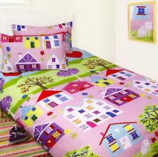 Lovely Houses Quilt Doona Duvet Cover Set Girls Bedding House Hot Air Balloon
