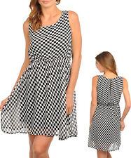 Ladies Black White Chiffon Layered Day Work Office Dress Size 6 8 10 12 NEW