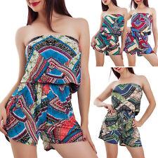 Overall donna jumpsuit shorts bandeau pantaloncini corti leggera sexy L-1182