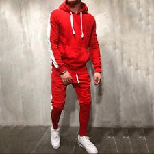 Tracksuit Men Sweatshirt Drawstring Pants Fashion Stripe Patchwork Hoodies Z