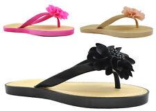 Ladies Womens Flat Jelly Open Toe Post Jellies Flip Flops Slippers Sandals Size