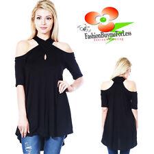Black Haute Boho Open Shoulder Keyhole Punk Gothic Halter Tunic Shirt Top M L XL