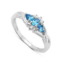 SMALL STERLING SILVER BLUE TOPAZ & DIAMOND ENGAGEMENT RING SIZE HJKMNOPQRSTU