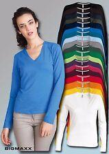 KARIBAN Damen Langarm Shirt mit V-Ausschnitt V-Neck in 20 Farben Gr S bis 3XL