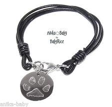 Personalised Dog Cat Pet Paws Prints Pawprint Circle Pendant on Leather Bracelet