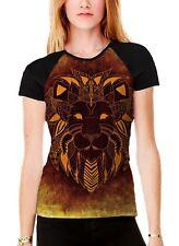 Tribal Lion Face Orange Women's All Over Graphic Contrast Baseball T Shirt