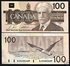 CANADA $100 P99B 1988 GEESE BIRD AUNC BONIN THIESSEN DIGN SCARCE BANK NOTE