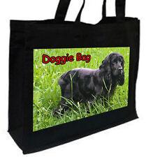 BLACK Cocker Spaniel Cotone Shopping Bag, scelta di colori: Nero, Crema