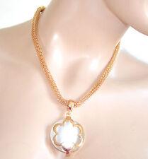 COLLANA donna ORO girocollo CIONDOLO PIETRA BIANCA dorata collier halsband 970