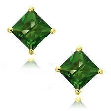 Emerald Square Princess Cut CZ Crystal YG 925 Sterling Silver Stud Earrings