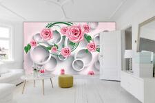 3D Jasmin Rose  398 Photo Papier Peint en Autocollant Murale Plafond Chambre Art
