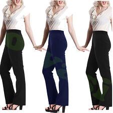 Femme à Enfiler Côtelé Bootleg Stretch Pantalon de travail Bas de pantalon taille 10-26