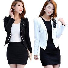 Women Office Lady Short Blazer Slim Suit Jacket Coat Long Sleeve Floral Top Hot