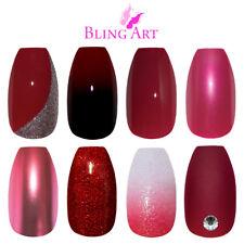 Bling Art Coffin False Nails Red Glitter Gel Matte Fake Medium Acrylic Tips Glue