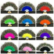 Colorful Handmade Folding Feather Hand Peacock Eye Fan Retro Dance Decoration