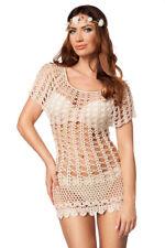 gestricktes Longtop Strickkleid beige XS-M Strandkleid, Bademode beachwear Kleid