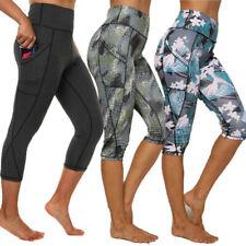 HOT Womens 3/4 Capri Leggings Pockets Gym Fitness Sports Cropped Yoga Pants