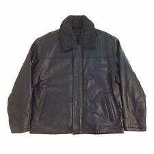 P11925706 Perry Ellis Portfolio, Vintage, Men Zip Up Leather 3/4 Length Coat/JKT