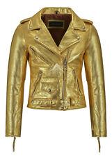 Ladies Brando Perfecto Jacket Gold Bikers Punk Tops Genuine Leather Jacket MBF