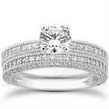 7/8ct Heirloom Milgrained Diamond Engagement Wedding Ring Set 14K White Gold
