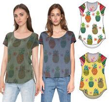 Desigual Camille T-Shirt Haut XS-XXL UK 8-18 RRP? 44 subtile Ananas Imprimer