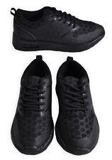 Boys Trainers New Kids Plain Back To School Plain Black Lace Up Shoes UK 6 - 13