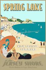 Spring Lake New Jersey Shore Retro Deco Beach Poster Atlantic Ocean Print 341