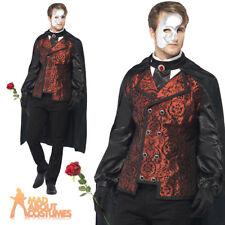 Adult Dark Phantom of the Opera Masquerade Costume Mens Halloween Fancy Dress