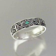 Elegant Women Jewelry 925 Silver Ring Round Cut Emerald Wedding Ring Size 6-10