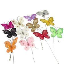 Pack of 10 Jewelled Organza Florist Butterflies - Bouquet Craft Picks Fake