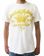 Christian Audigier Men's Crown of Glory T-Shirt in White/cream & Gold (CATS002)