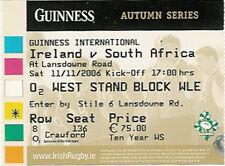 IRELAND v SOUTH AFRICA 13 Nov 2004 RUGBY TICKET