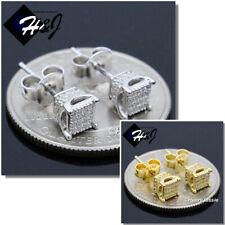 MEN WOMEN 925 STERLING SILVER 5MM LAB DIAMOND SILVER/GOLD 3D STUD EARRING*E187