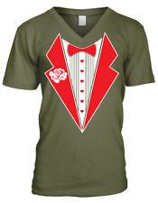 Tuxedo Shirt Lapels Bow Tie Heart Buttons Fake Wedding Love Men's V-Neck T-Shirt
