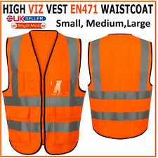 Hi Vis Viz Vest High Visibility Waistcoat with Phone & ID Pockets Orange