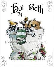 Bathroom Teddy Bear in Bubble Bath & Birdie Wall Art Print