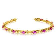 14k Yellow Gold Natural Pink-Topaz And Diamond Tennis Bracelet